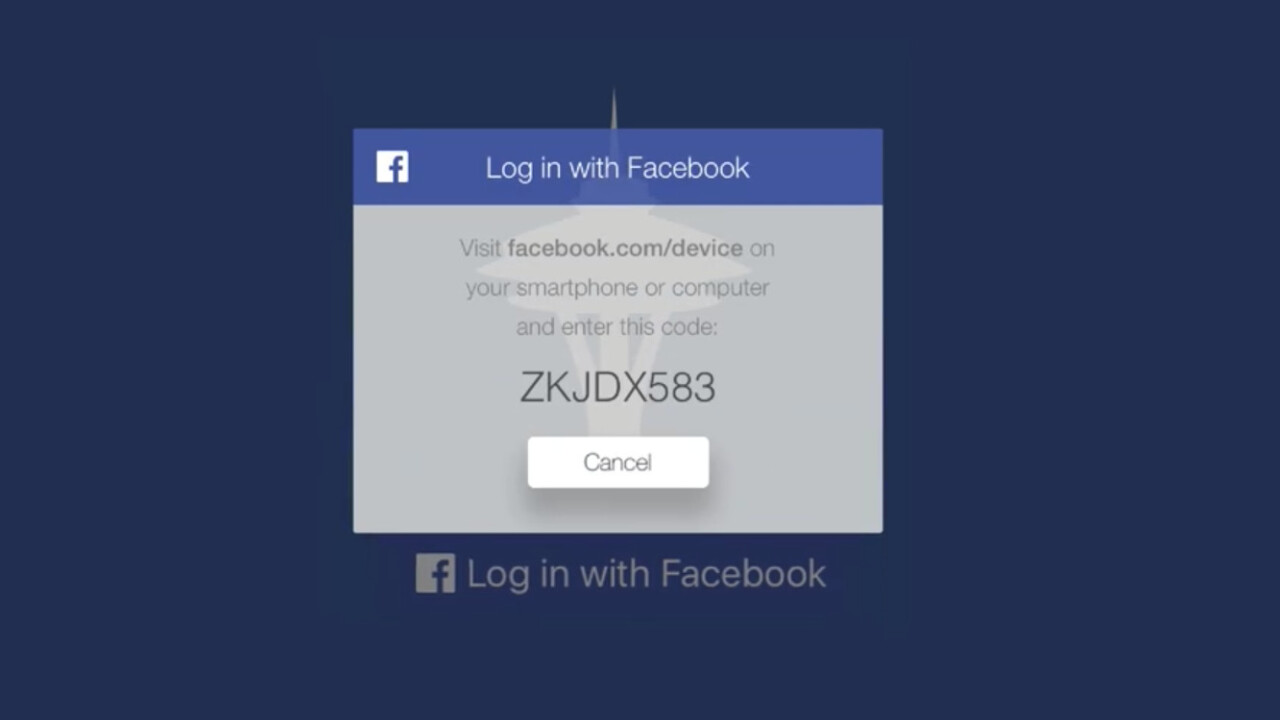 Apple TV apps can now use Facebook for logging in