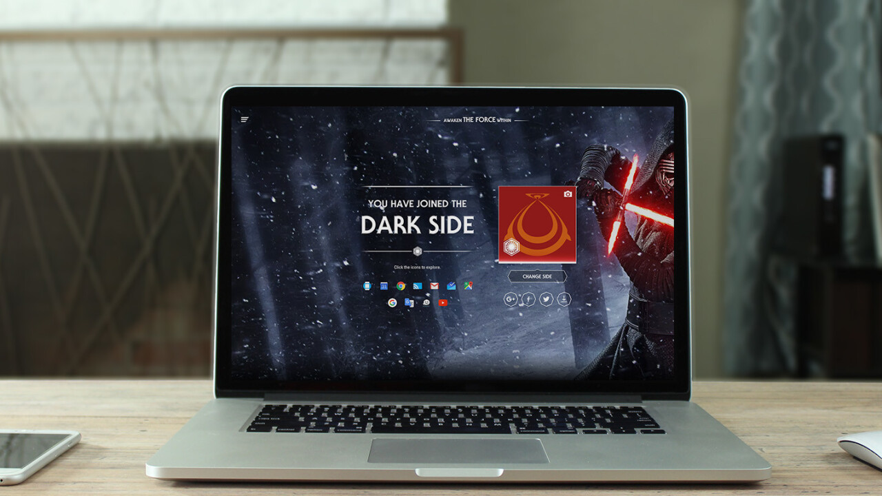 Google lets you choose the light or dark side to bring some Star Wars excitement to your Web experience