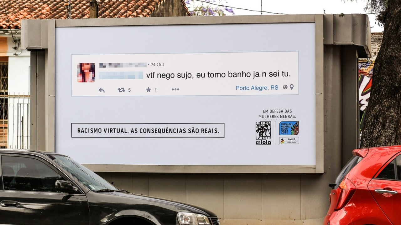 Racist trolls are being shamed with billboards showing their abusive messages near their homes