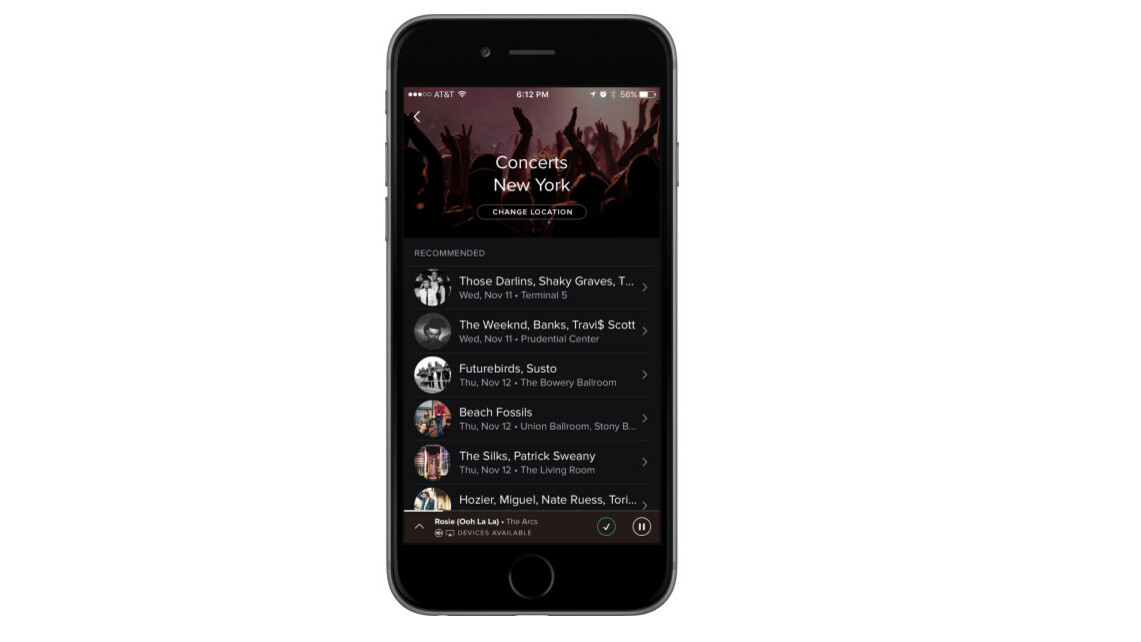 Spotify now recommends nearby concerts based on what you listen to