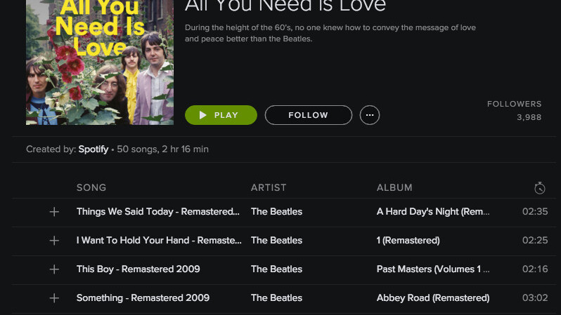Spotify has already remixed the Beatles catalogue into 7 playlists