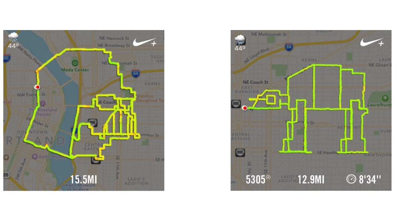 A Portland runner is plotting Star Wars routes and posting them to Instagram