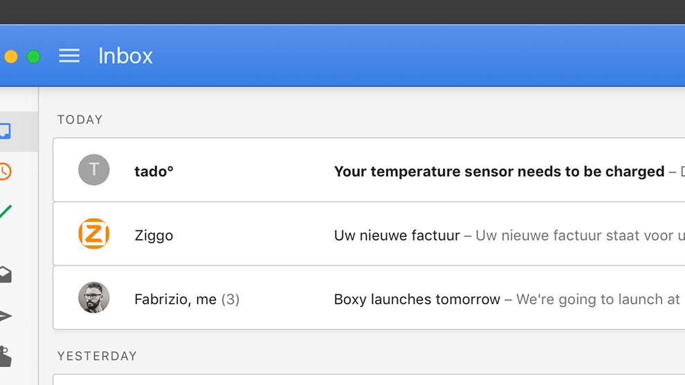 Boxy is a Google Inbox desktop app for Mac that doesn't suck