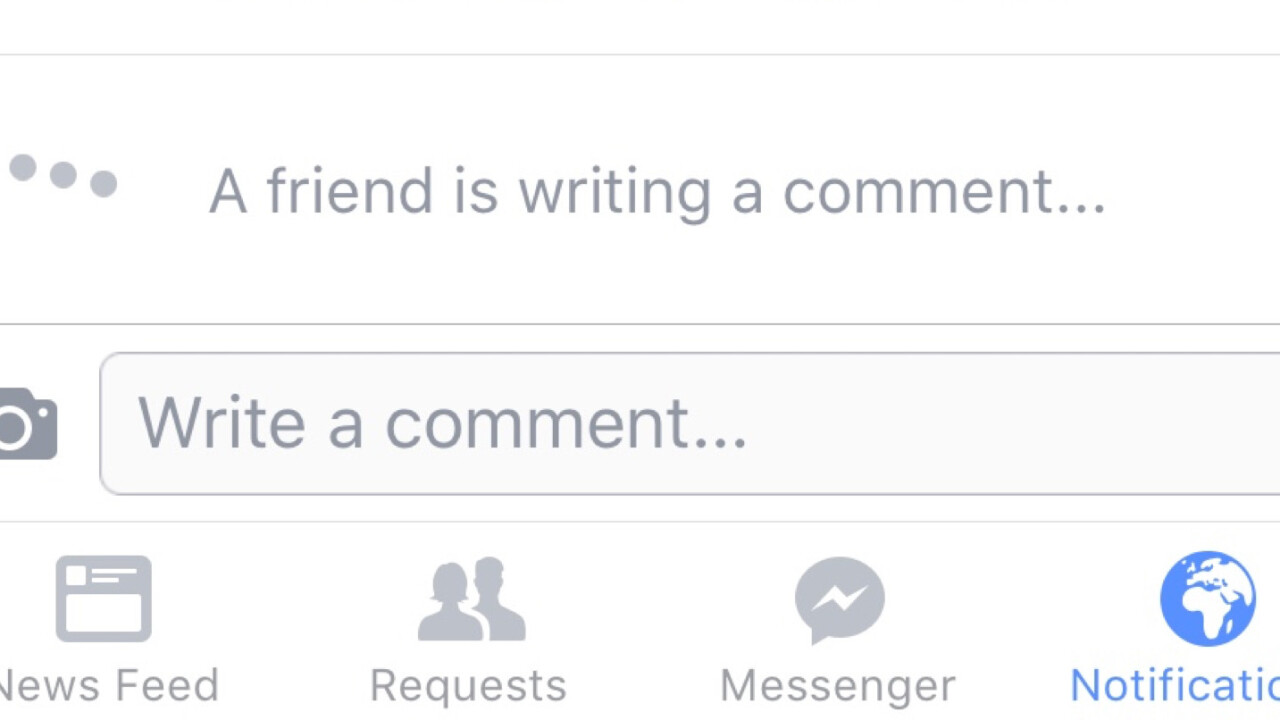 Facebook tests real-time comments, telling users when a friend is writing
