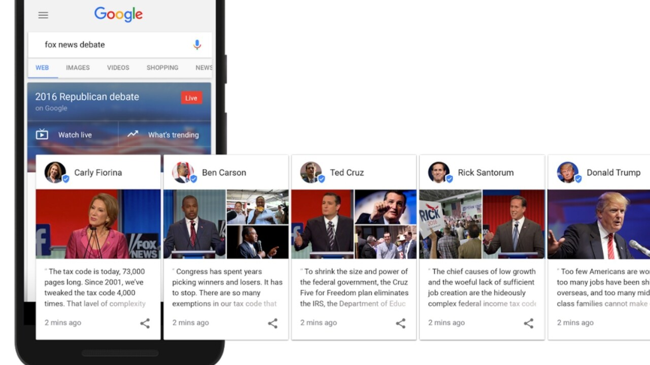Google can now help you fact-check candidates during debates with their own past quotes