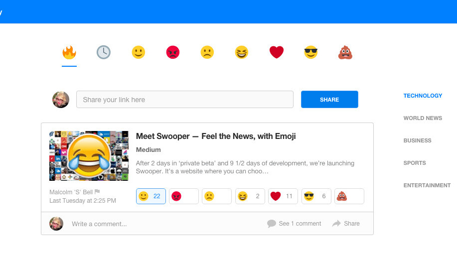 Swooper is the new emoji-led news site from the team behind Mailcloud