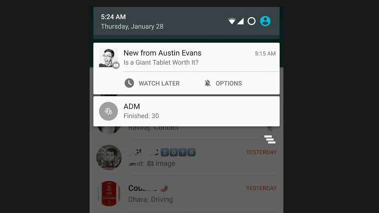 YouTube now lets you 'Watch Later' directly from the notification bar on Android
