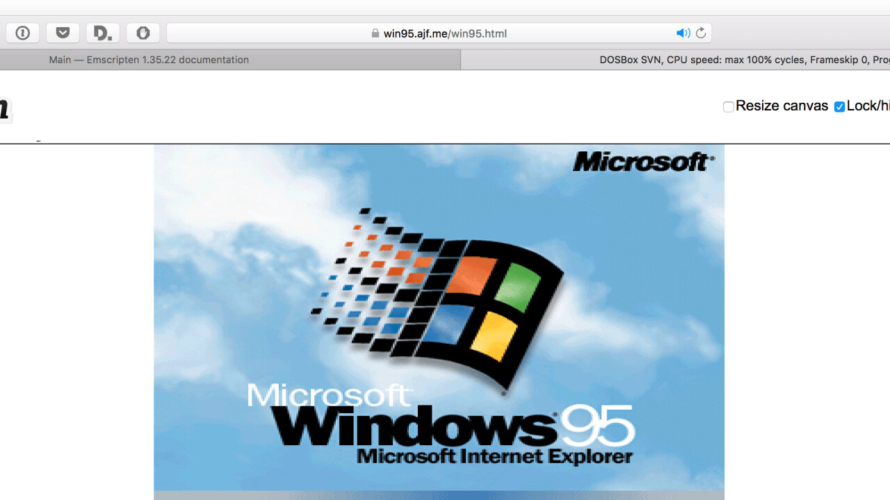 Windows 95 running natively in your browser is a sight to behold