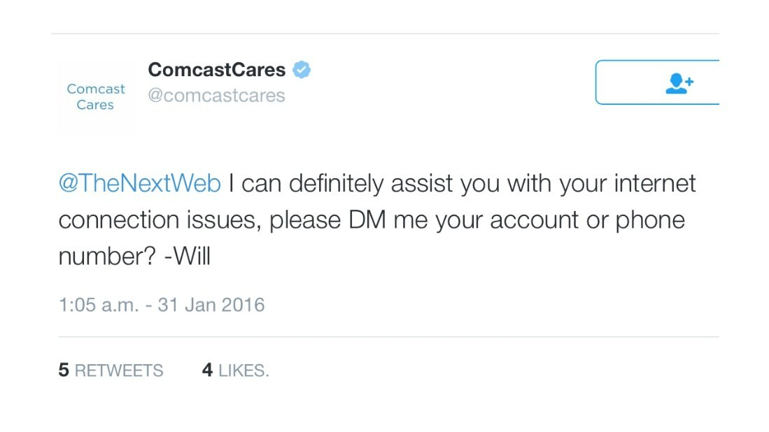 Comcast's reply to our tweet about them was hilarious