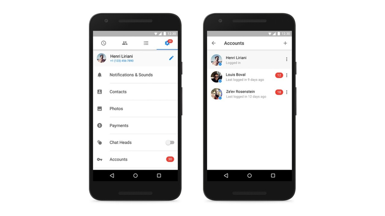Facebook Messenger for Android now officially supports multiple accounts