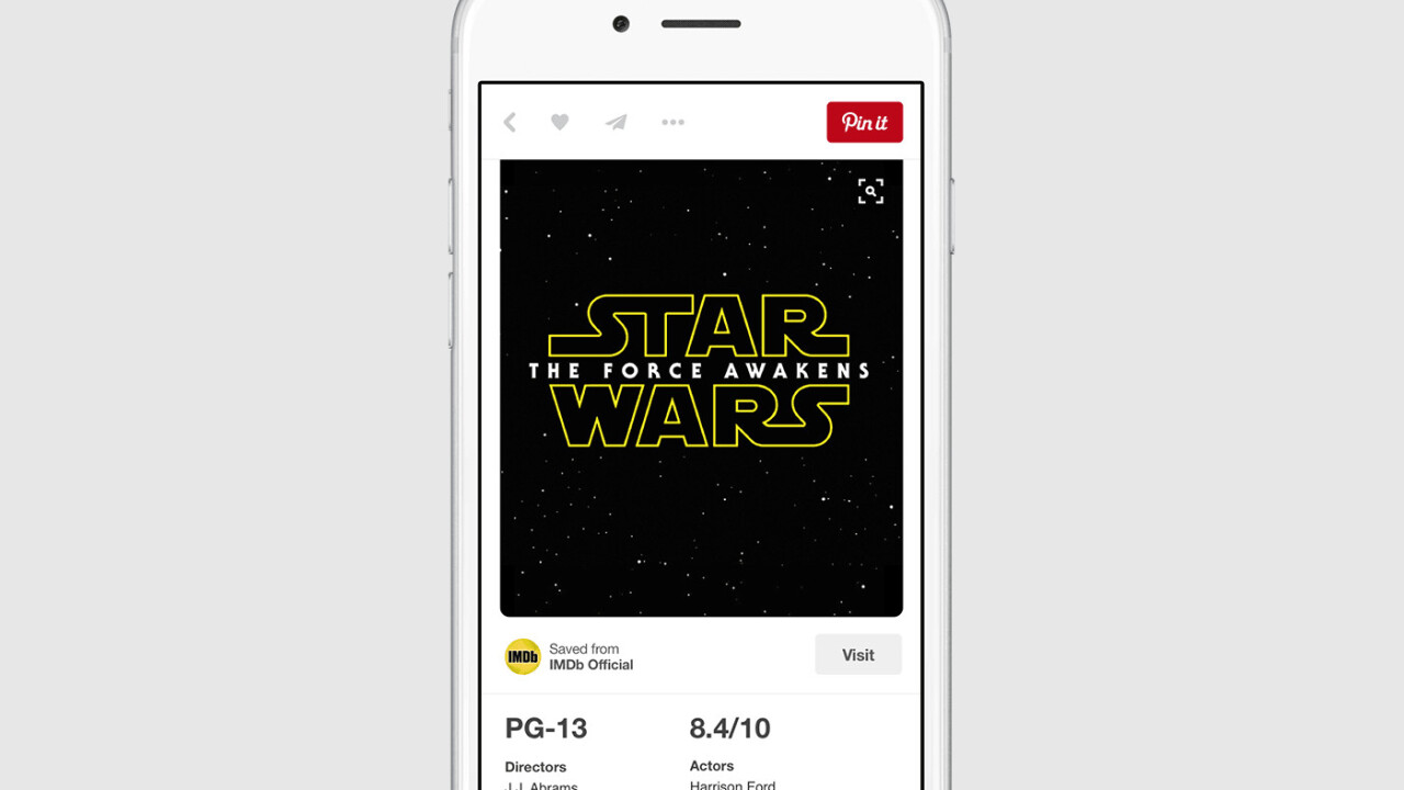 Pinterest makes its Recipe and Movie pins much more data rich