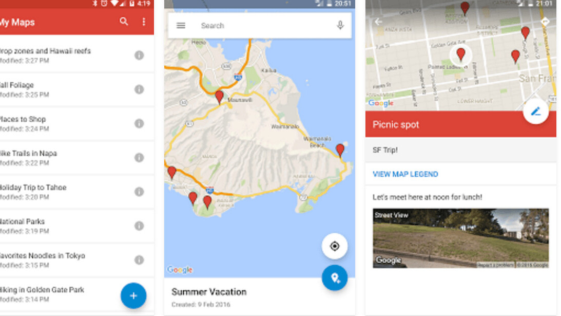 Google updated its My Maps app for the first time since 2014