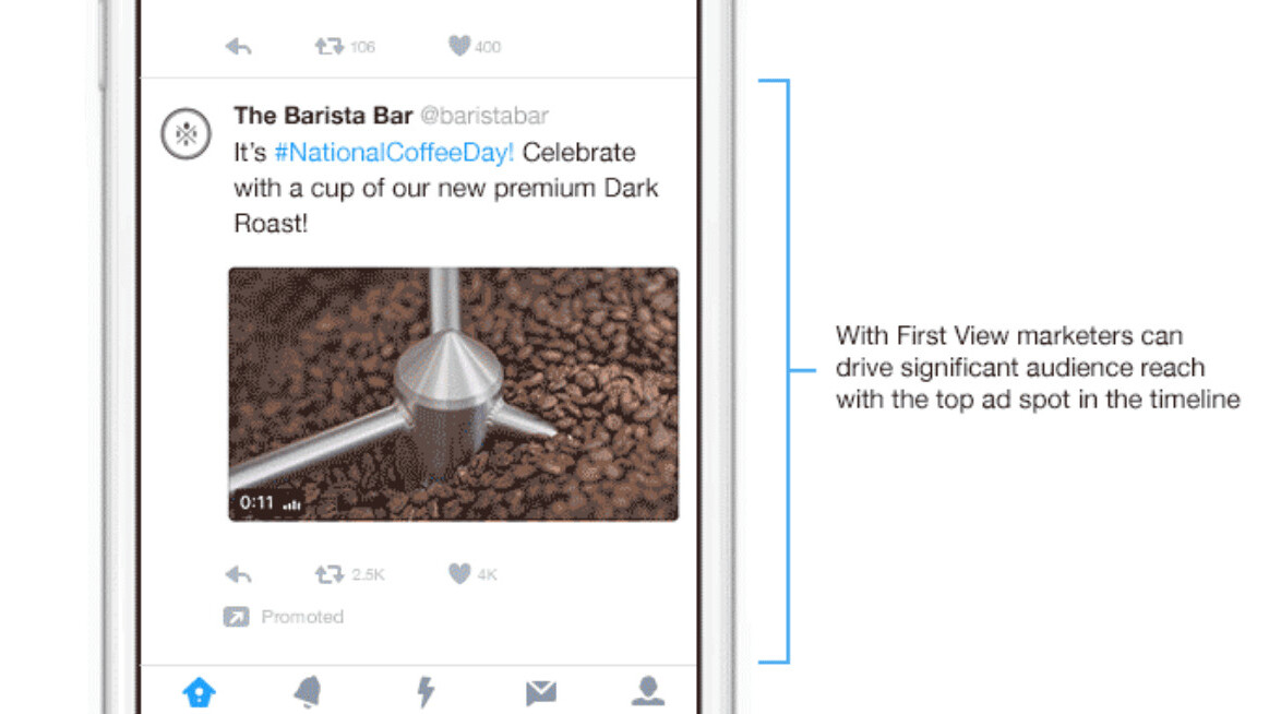 Twitter now lets advertisers pay to be right at the top of your feed