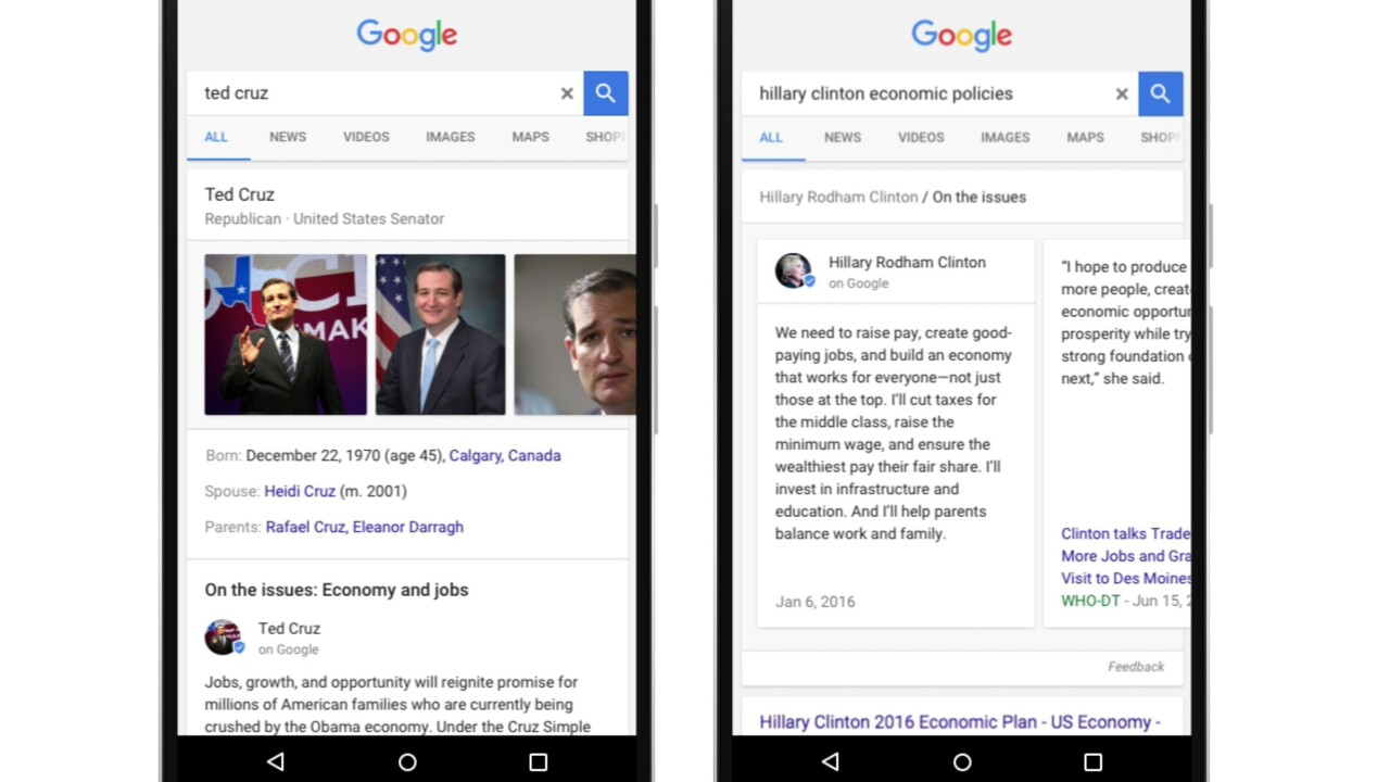Google search now shows election candidates' stances on specific political issues