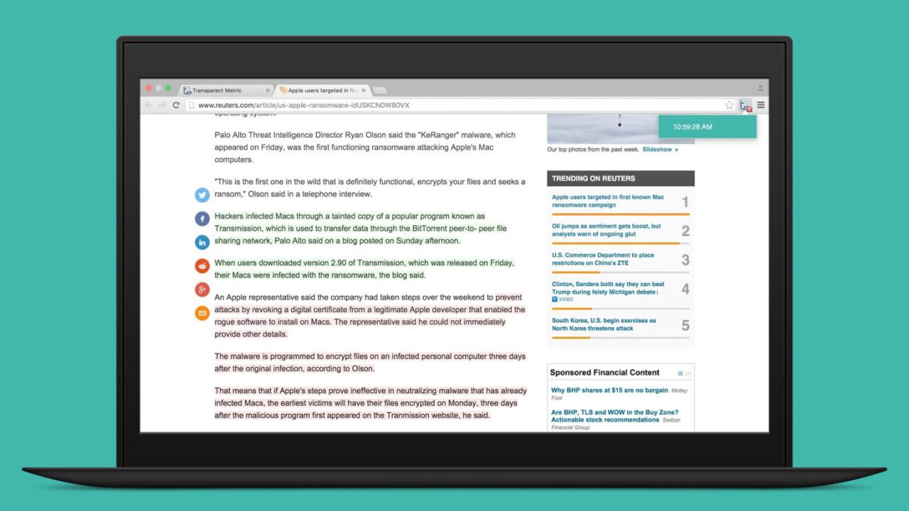 Transparent for Chrome reveals changes made to news articles