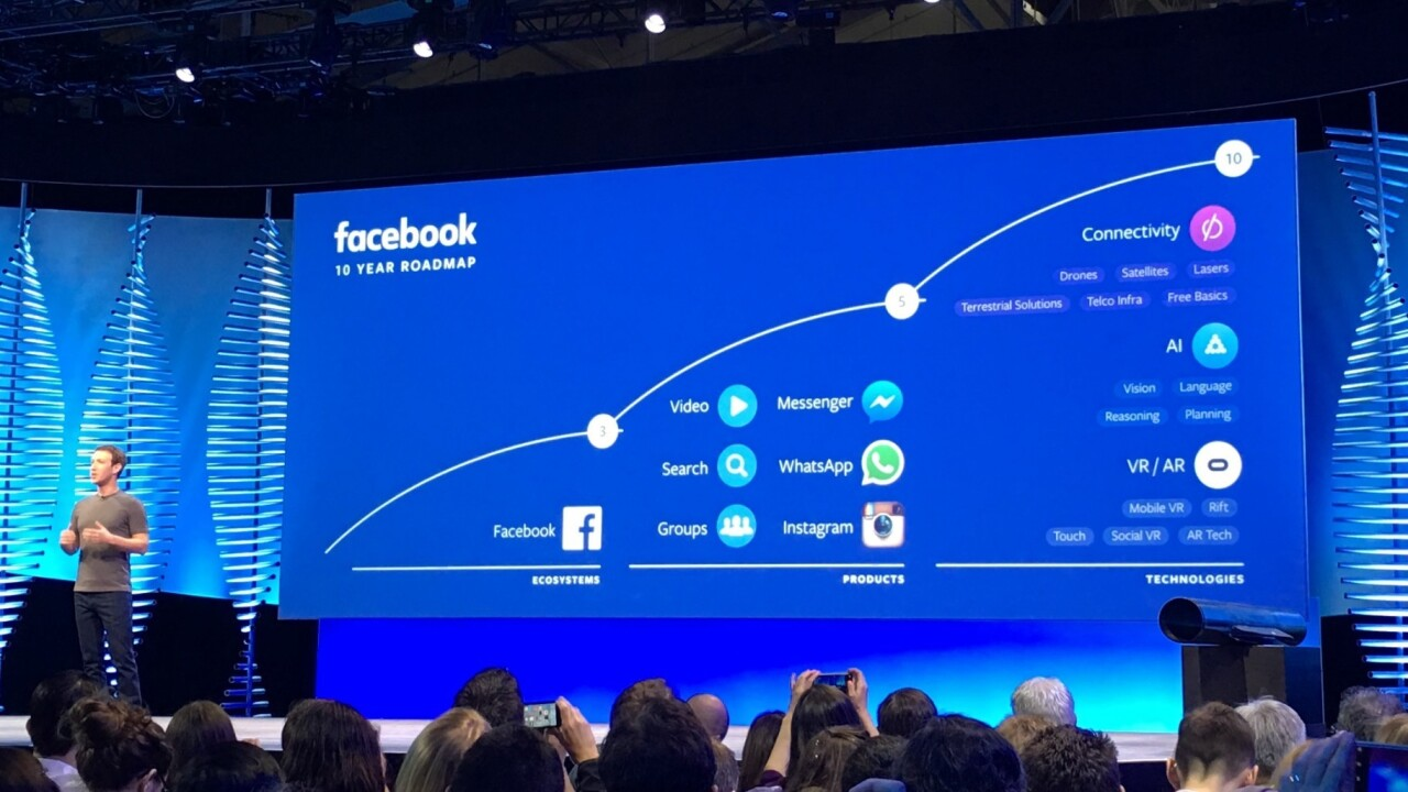 Facebook's 10-year roadmap is basically lasers, bots and VR