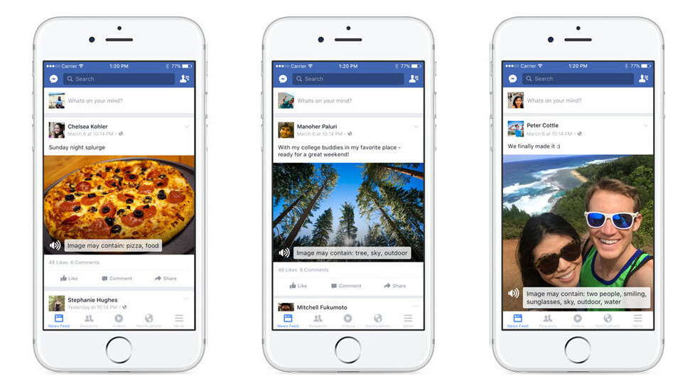 Facebook's iOS app now uses AI to help the blind 'see' photos