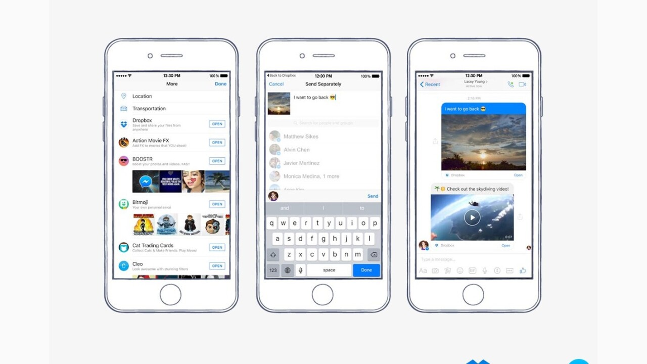 Dropbox files can now be shared directly in Facebook Messenger chats