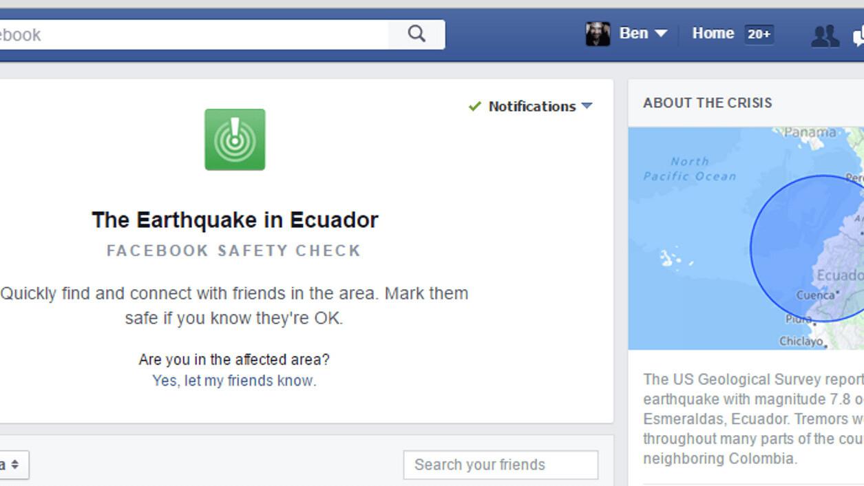 Facebook activates Safety Check feature following major earthquake in Ecuador