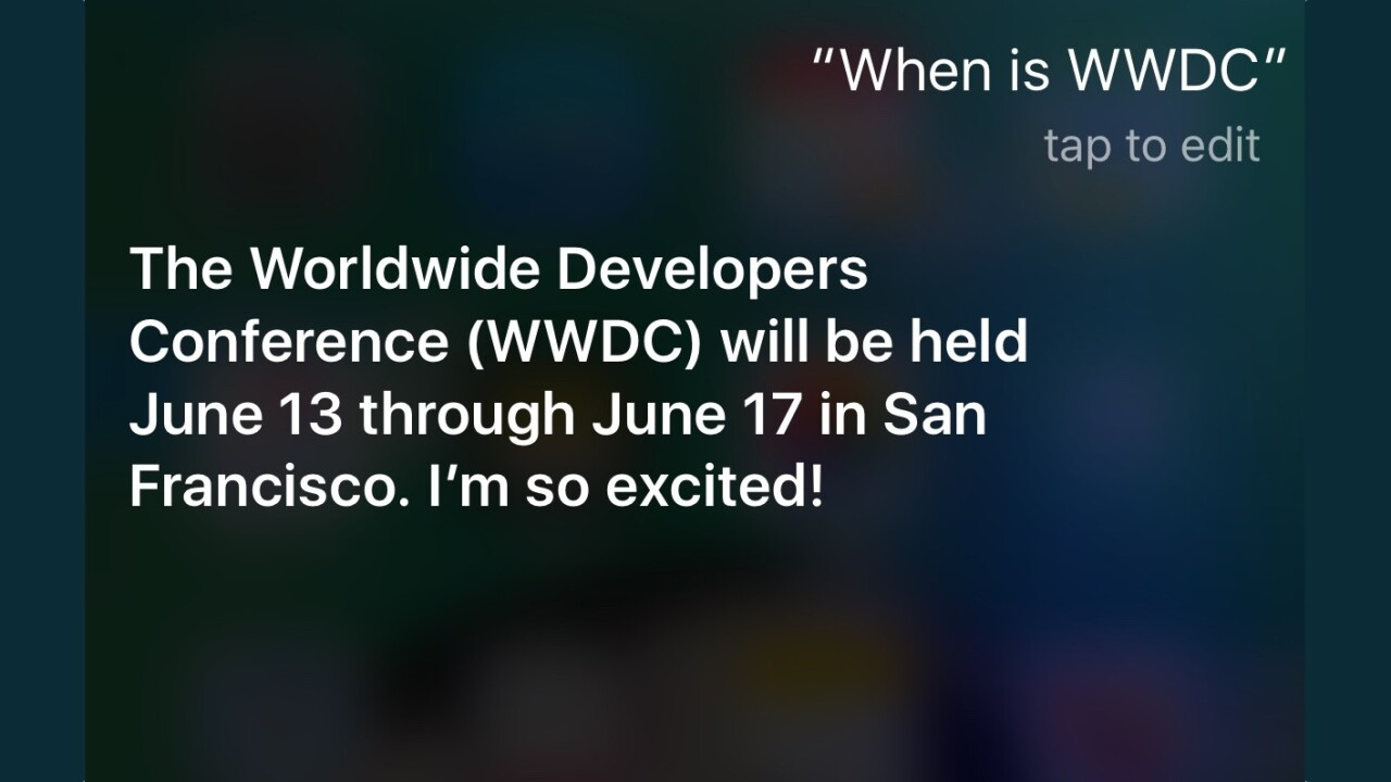 Siri spills the beans: WWDC will take place June 13 through 17 [Update]