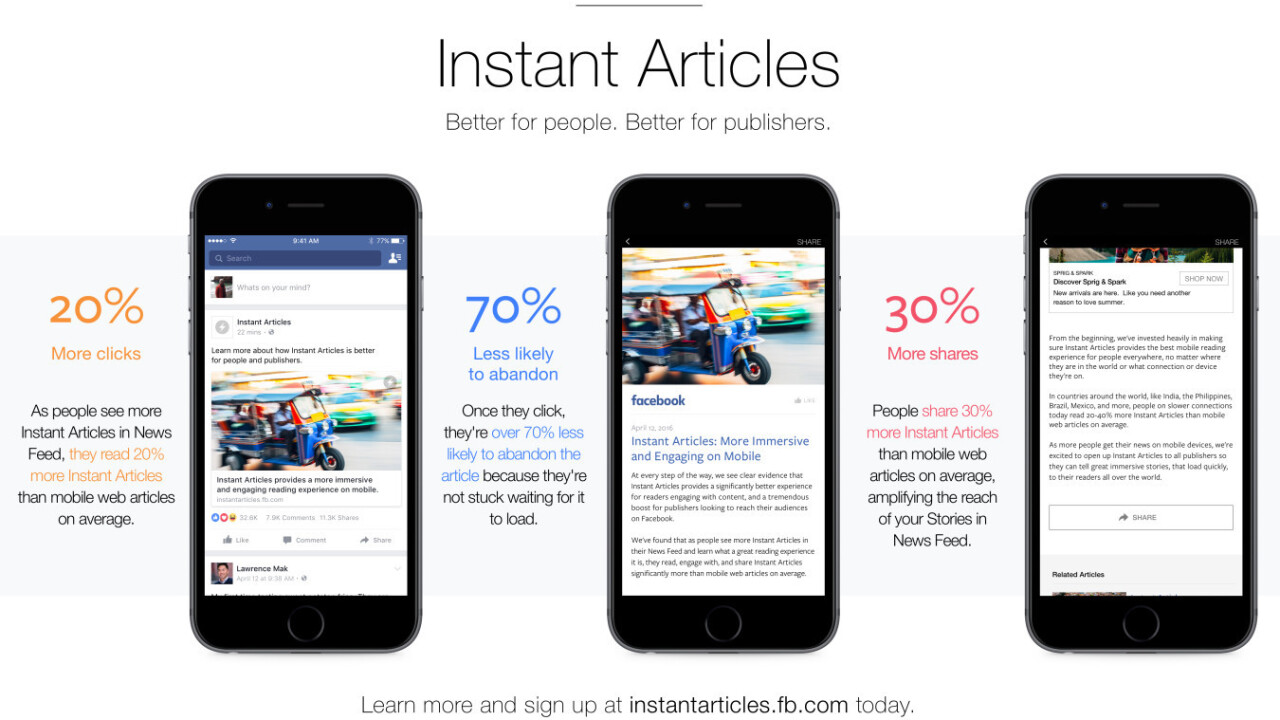 Facebook Instant Articles are now available to any publisher