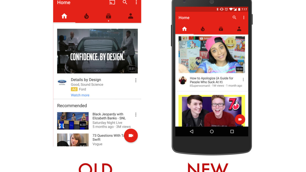 YouTube's redesigned app uses machine learning to recommend better videos