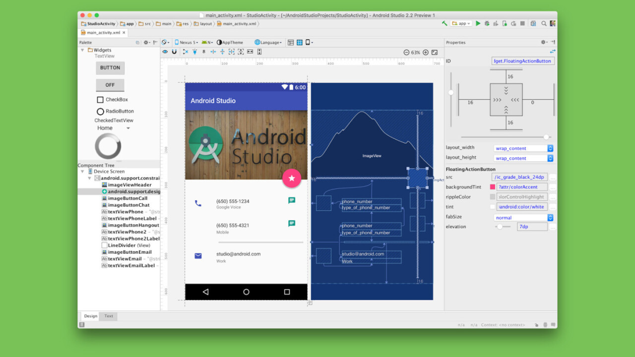Android Studio has a new layout editor, UI test recorder and Firebase integration