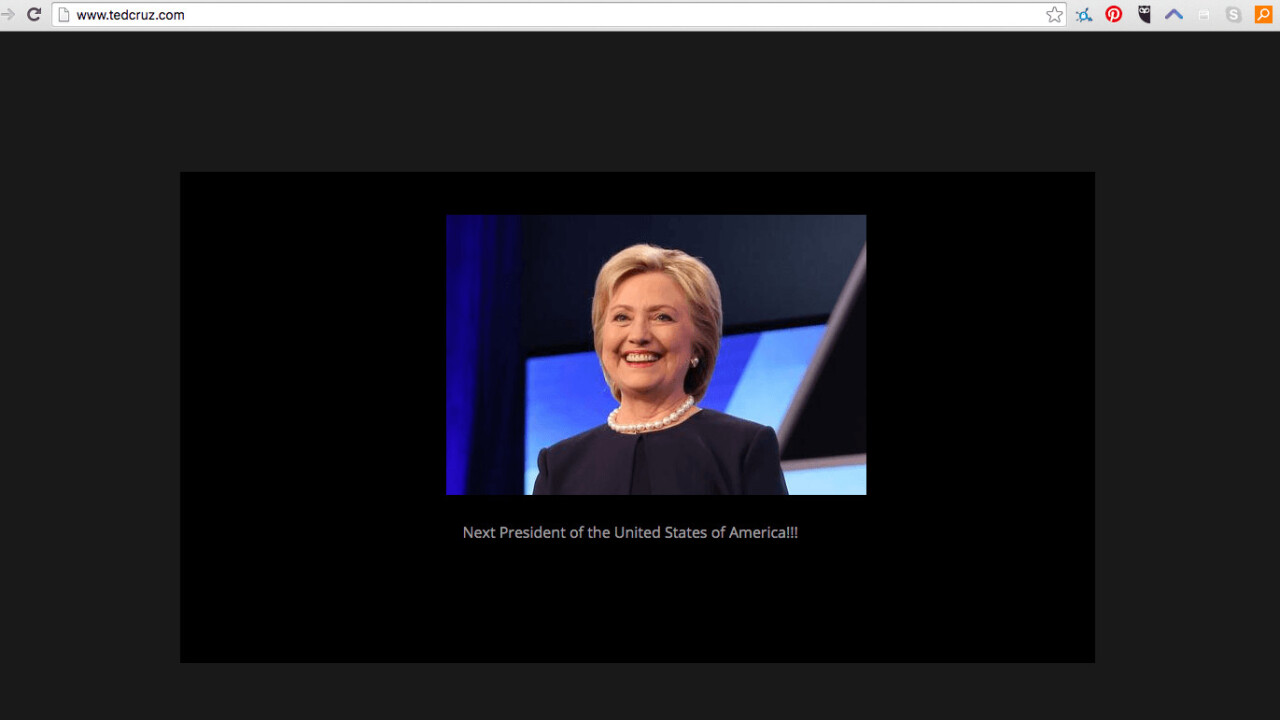 TedCruz.com has turned its support to the Clinton campaign