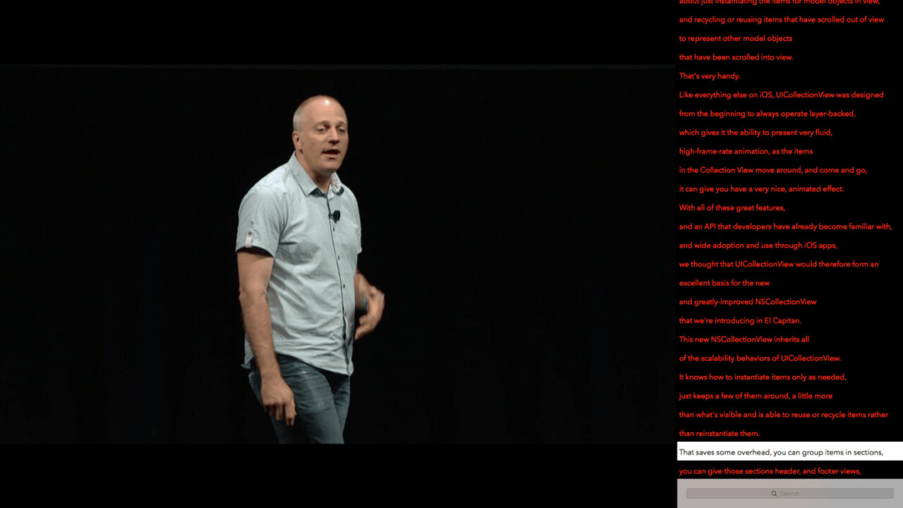 The unofficial WWDC app now has transcripts of all session videos