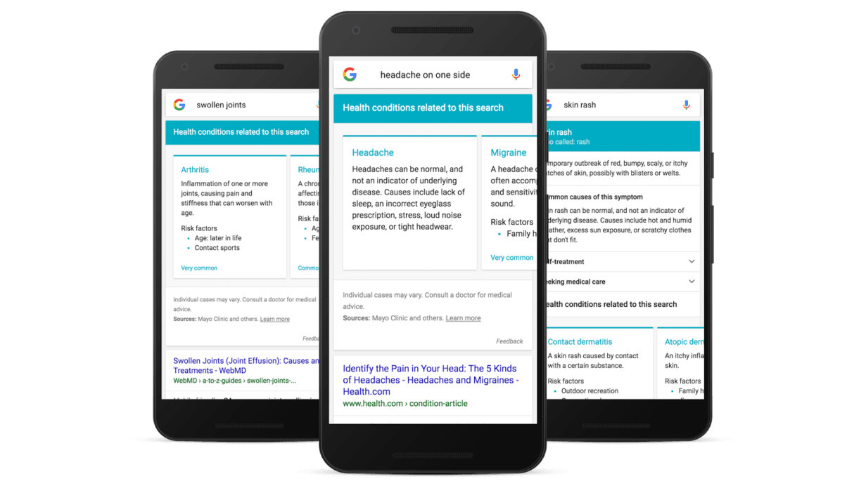 Google basically just became WebMD with its new symptom cards
