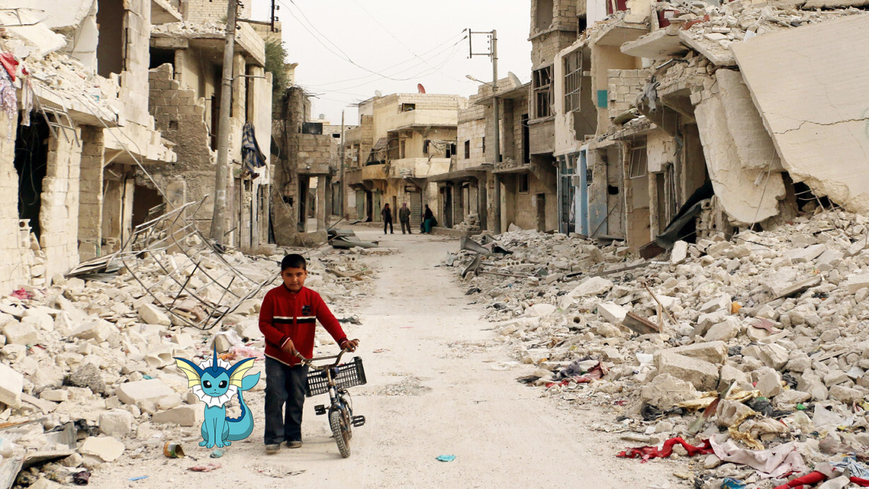 Syrian artist uses Pokémon Go to showcase the harsh reality of life in a war zone