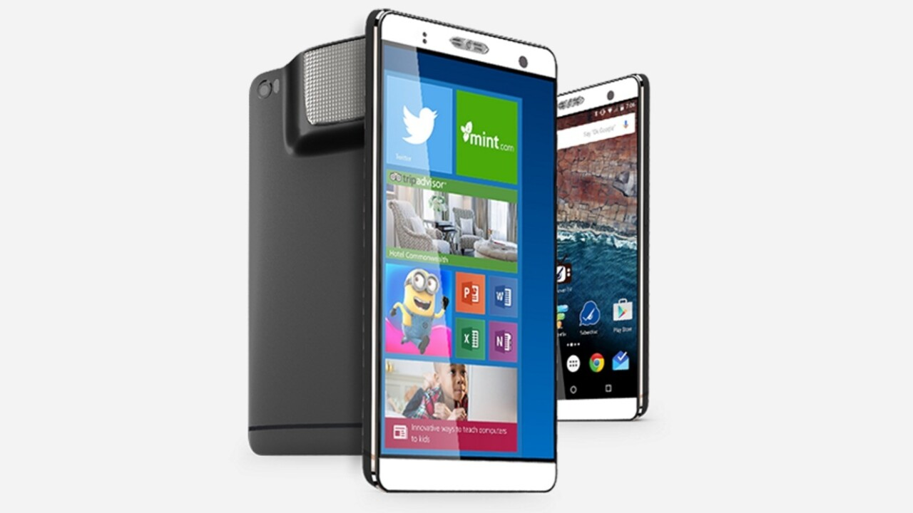 This 7-inch Frankenphone comes with Android, PC Windows, and a projector