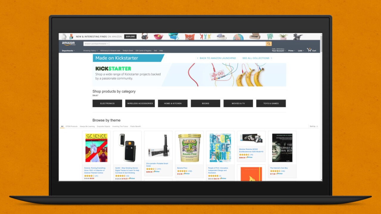 Amazon now has an 'As Seen on Kickstarter' section