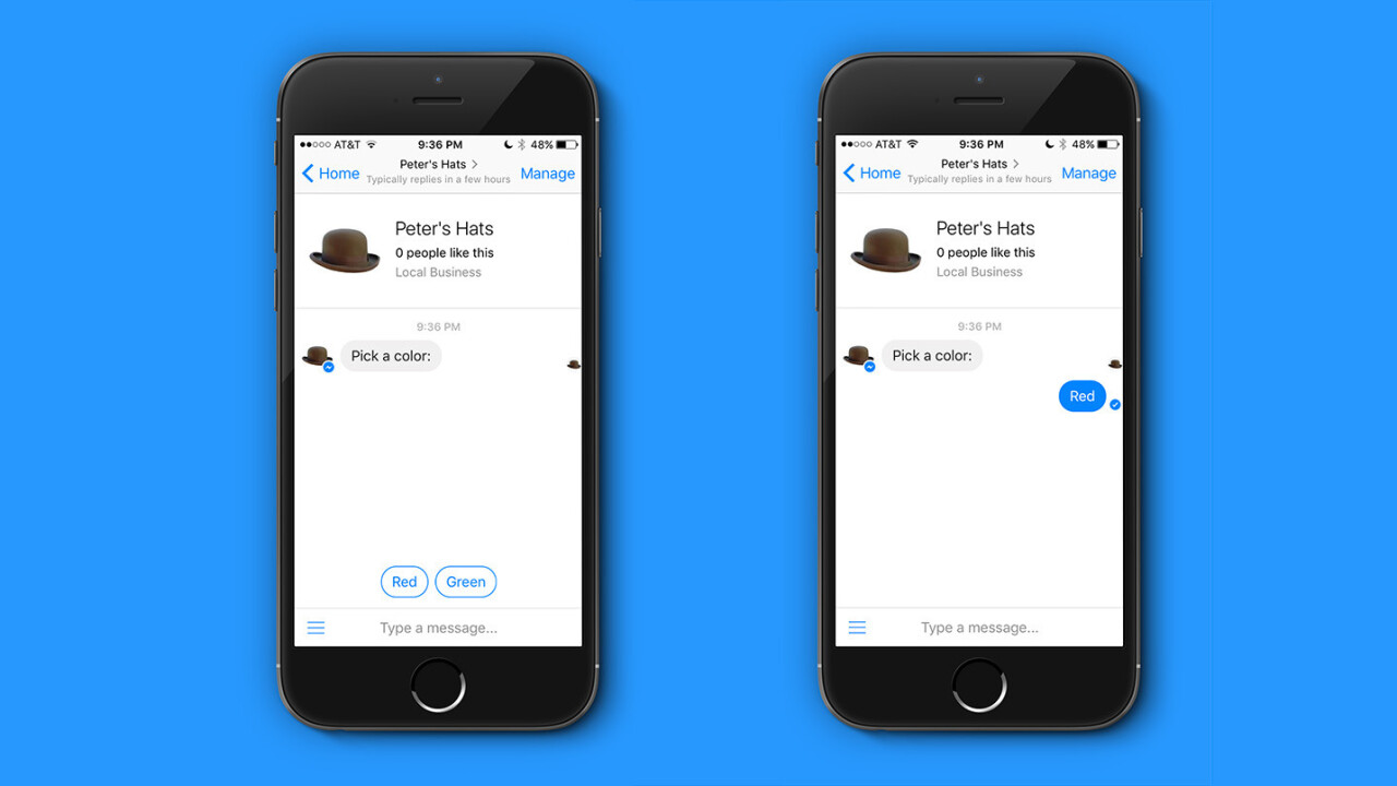 Messenger chatbots can now add quick reply buttons and send GIFs in conversations
