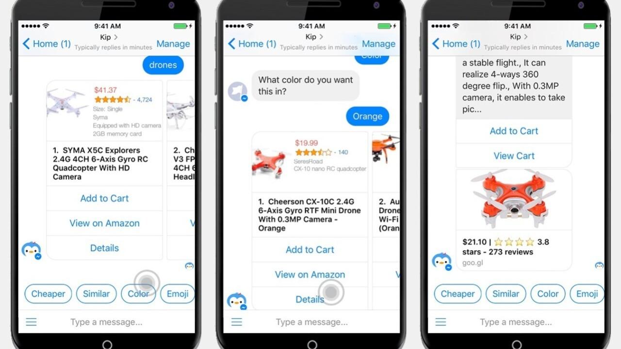New Facebook Messenger bot Kip lets you shop using only emoji