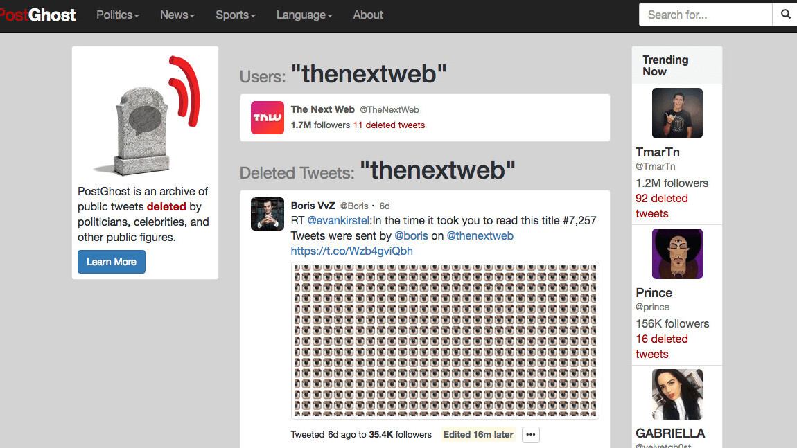 Track the deleted tweets of verified Twitter accounts [Update: not anymore, you can't]