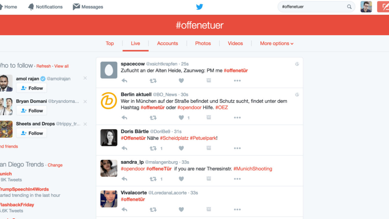 Find safe haven from Munich shooter using Twitter hashtag #offenetuer (open door)