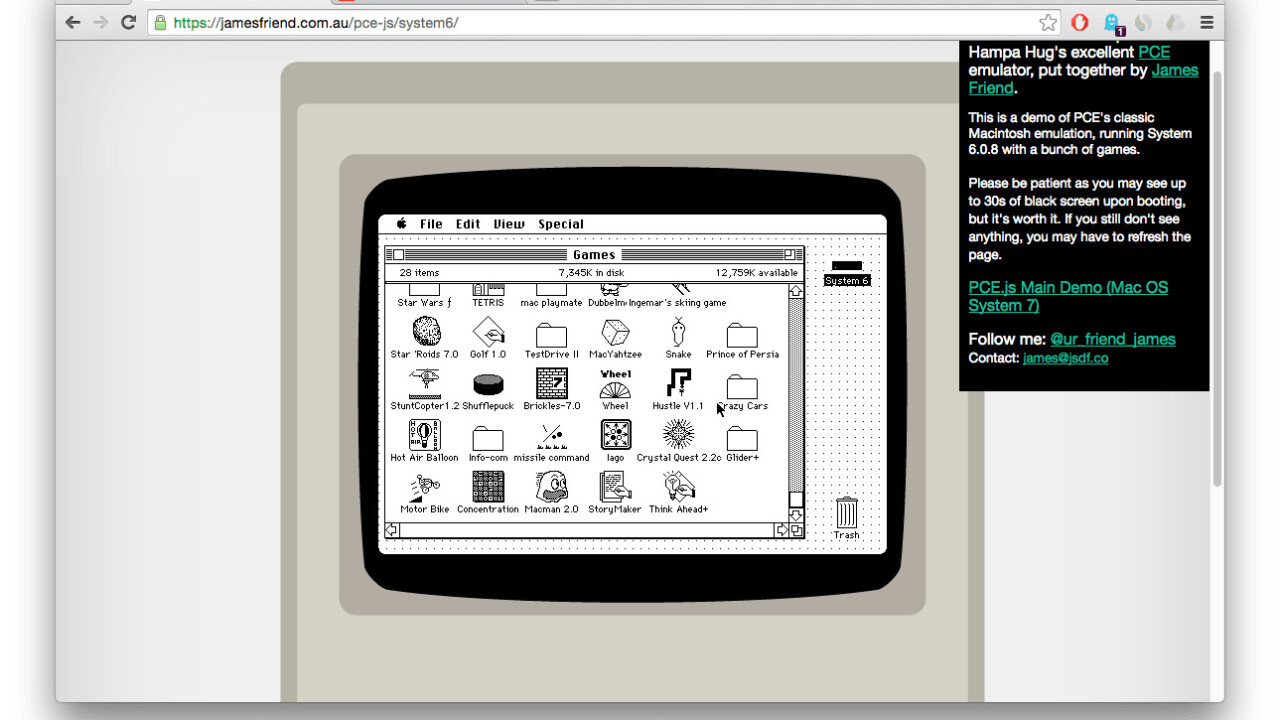 Run classic Macintosh OS natively in your browser, courtesy of JavaScript