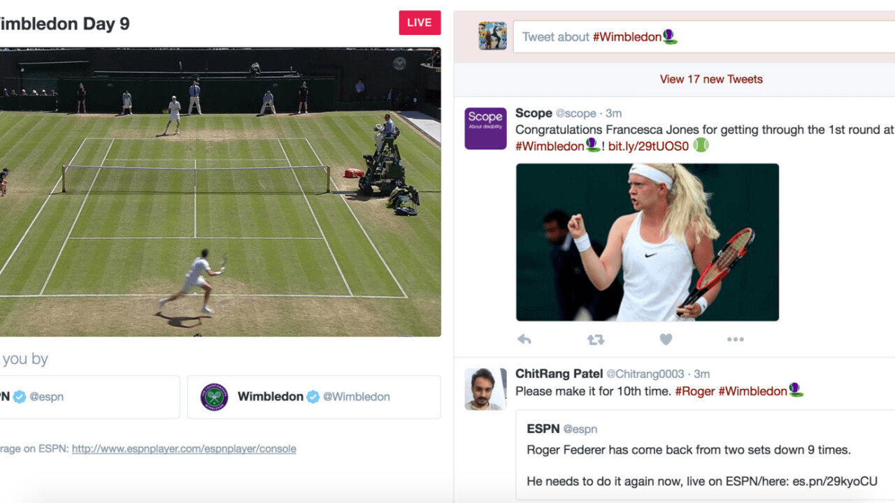 Twitter launches its first livestream sports broadcast with Wimbledon