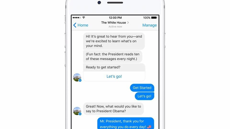 You can now write to President Obama via a White House Messenger bot