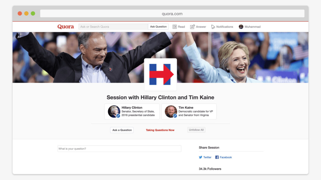Hillary Clinton and Tim Kaine are hosting an AMA… on Quora