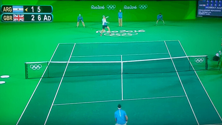 The Olympic tennis final took place on a giant green screen. The internet noticed