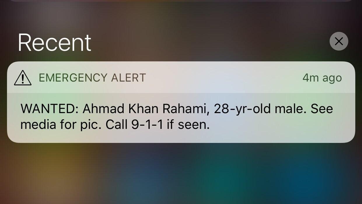 Smartphones in NYC get emergency alert in search for bombing suspect