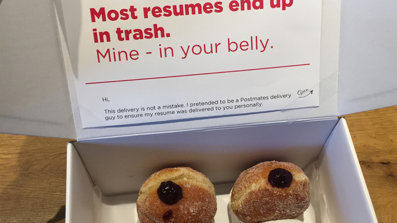 Genius dresses up as courier to hand in CV disguised as doughnut delivery