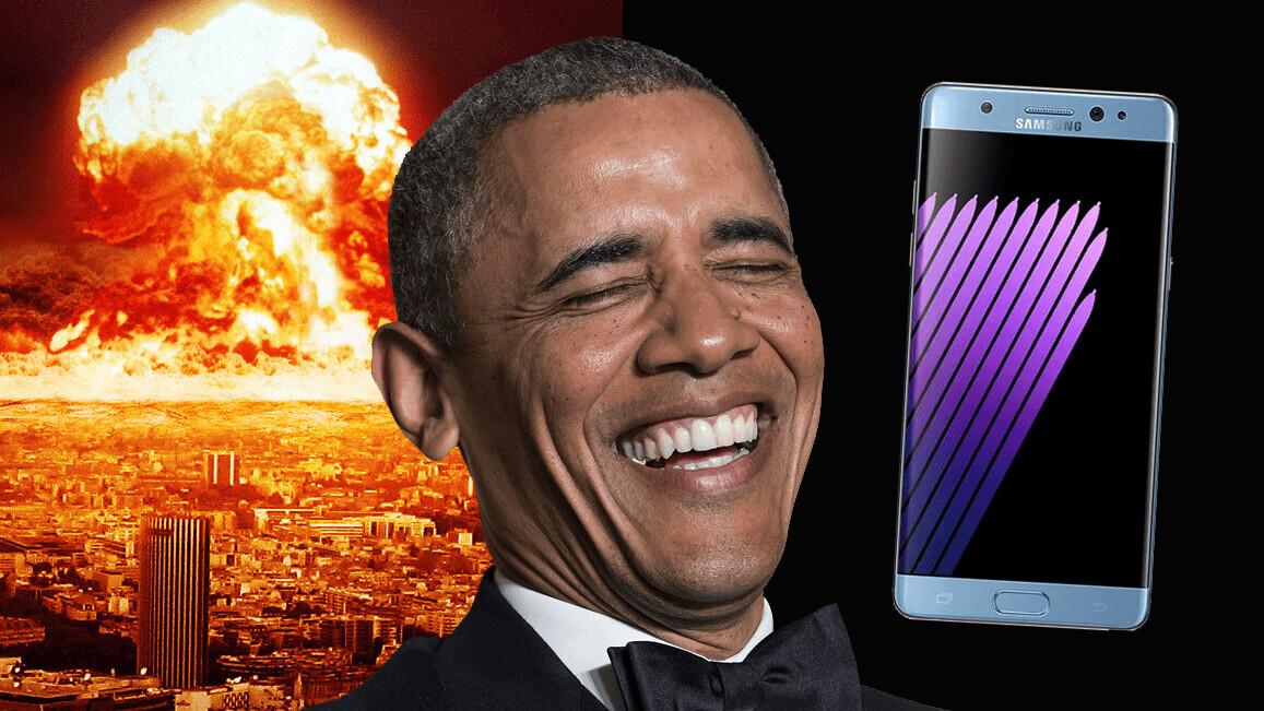Obama pokes fun at Samsung's fire-bursting Galaxy Note 7