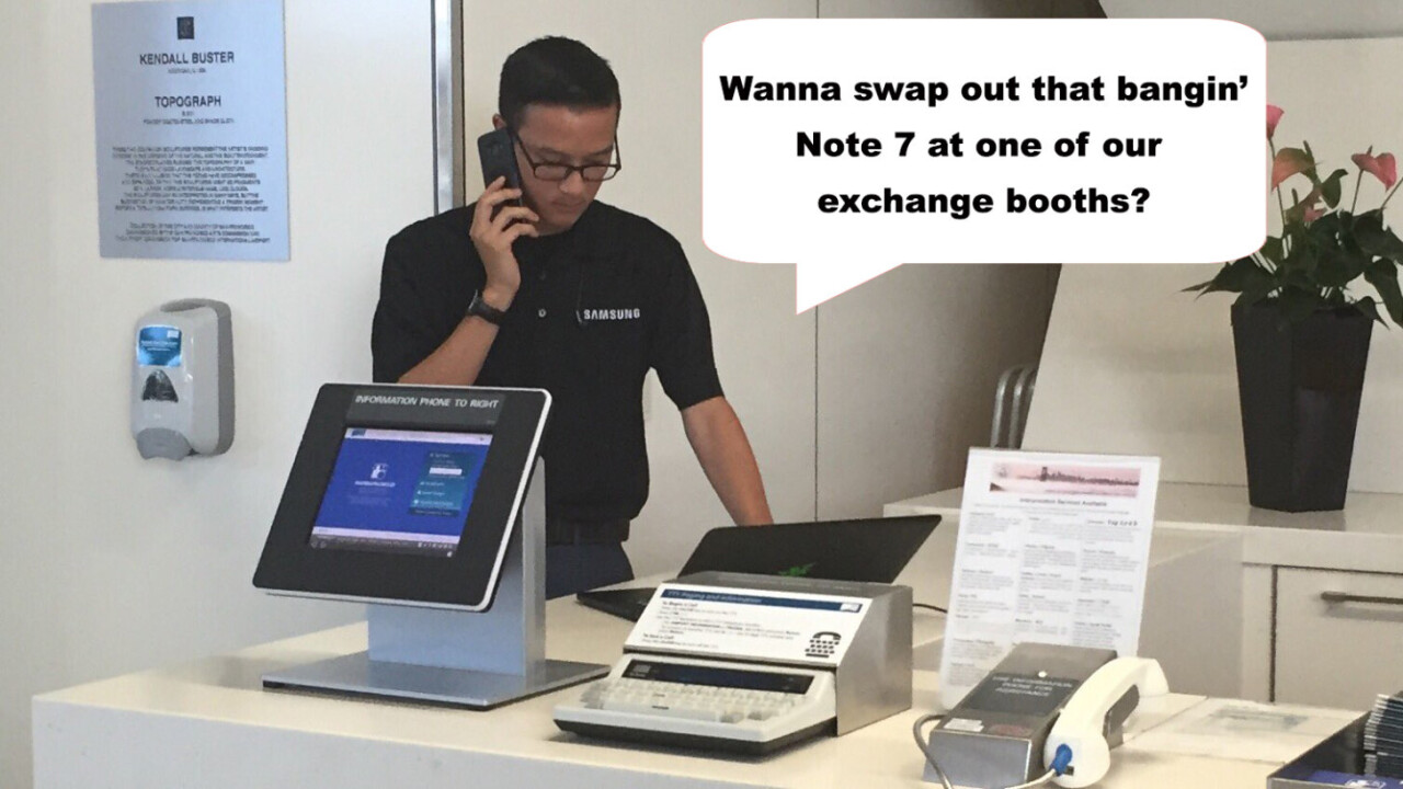 Samsung sets up exchange booths at airports to prevent the Note 7 from blowing up planes