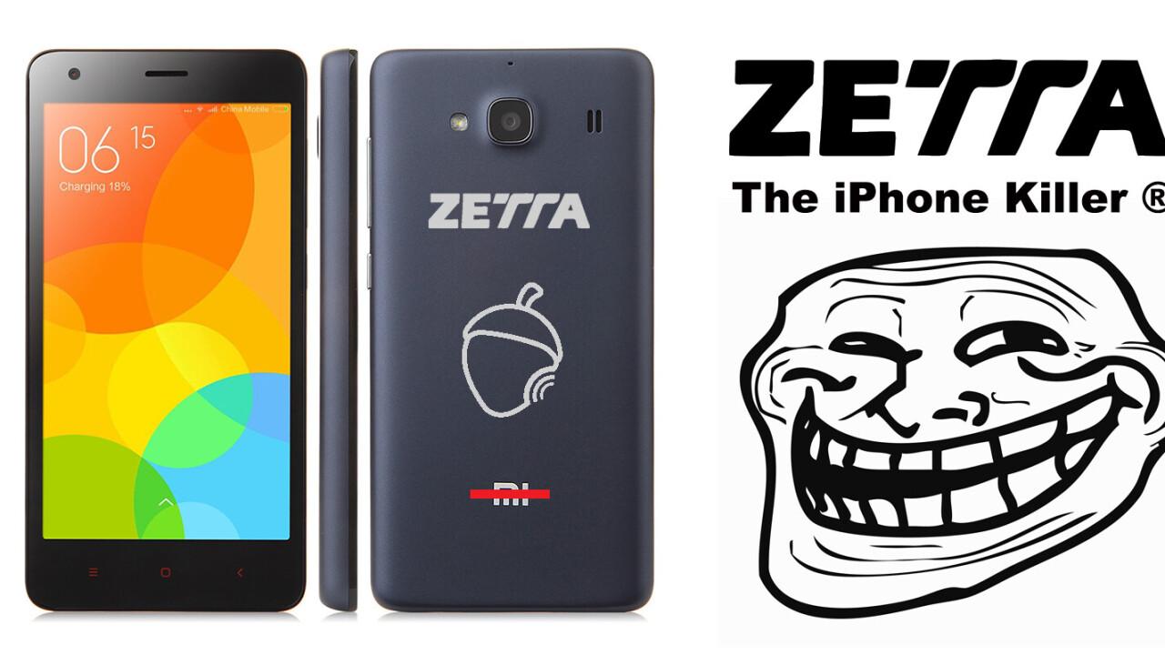 Spanish phonemaker Zetta is selling rebranded Xiaomi phones as its own 'iPhone killer'