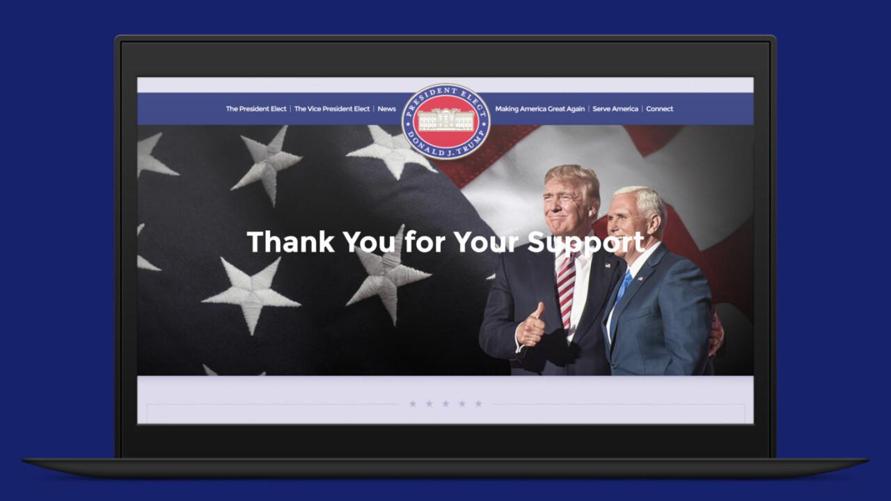 Trump's .gov site is now online