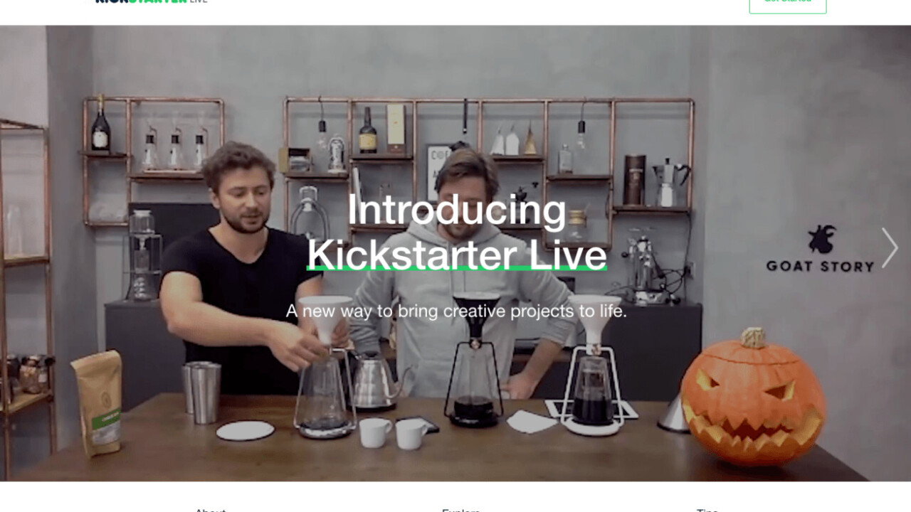 KickStarter Live will let creators livestream their campaigns to the world