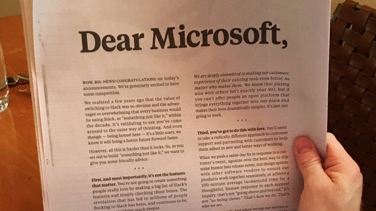 Slack sounds scared as hell in its open letter to Microsoft